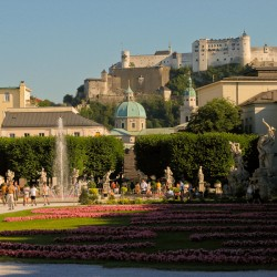 The Old City of Salzburg, Austria from the Mirabell Gardens.