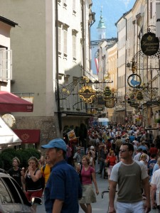 The streets of the old city in Salzburg, Austria.