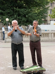 Street musicians in Budapest, Hungary.
