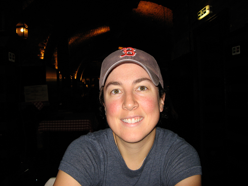 Jen at the Augustinerkeller Tavern in Vienna, Austria.