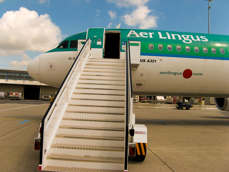 Boarding our Aer Lingus flight to Dublin.