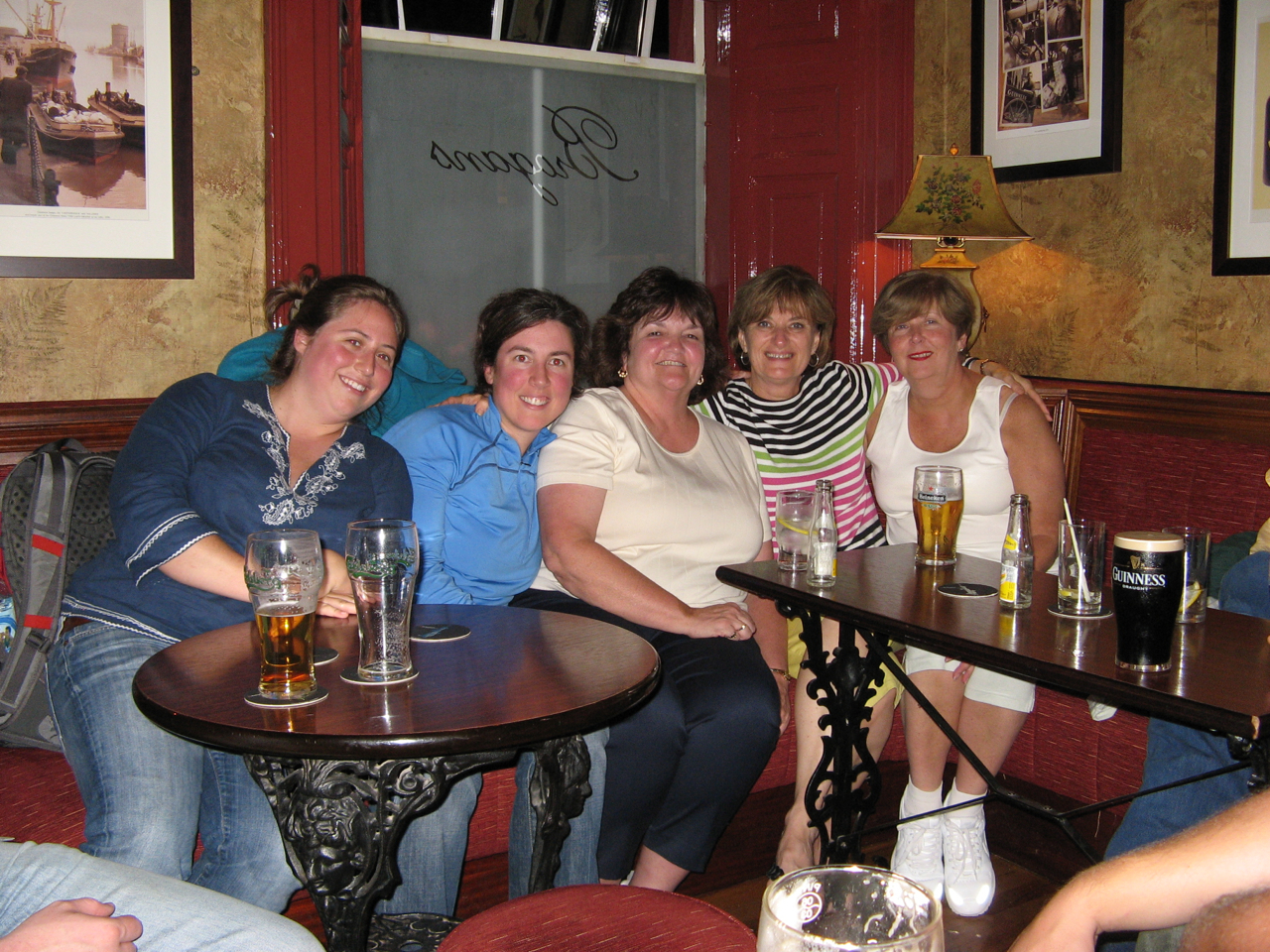 Kendra, me, Auntie Debbie, Aunty Maryann, and Barbara enjoying the night out in Trim, Ireland.