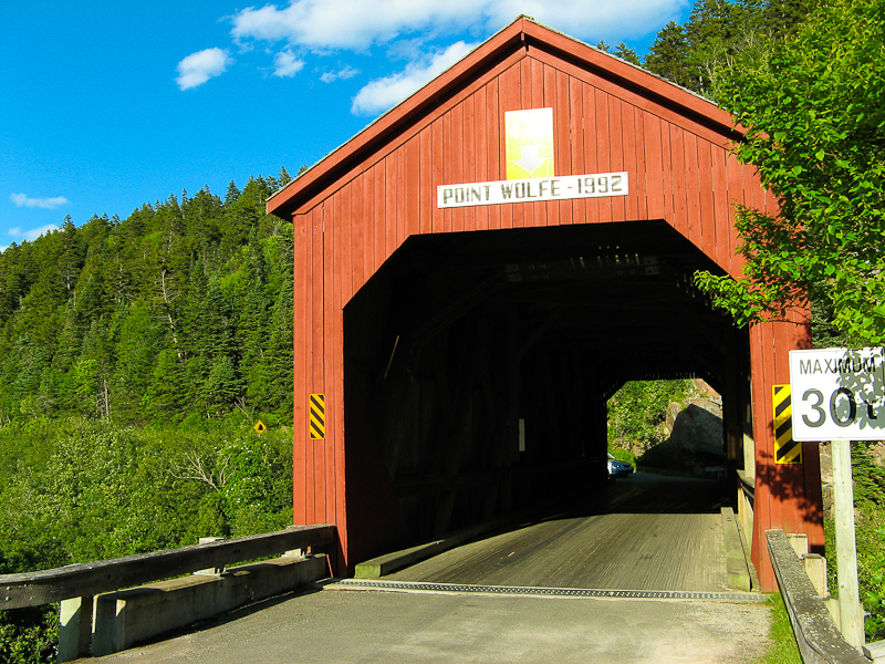 Covered bridge leading to the Point Wolfe Campground in Canada.