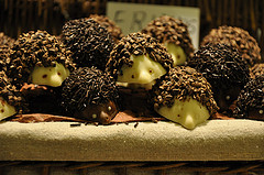Chocolate hedgehogs at a market stall in Barcelona, Spain.
