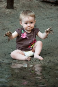 Addie playing in the mud at Yosemite.