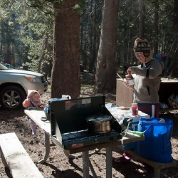 Making breakfast at the campsite in Yosemite.