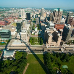 The view from the top of the St. Louis Arch.