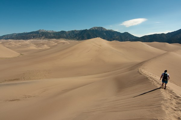 Hiking in the Great Sand Dunes National Park in Colorado.