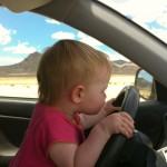 Addie taking a turn driving