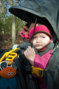 Addie riding in her Deuter Kid Comfort III