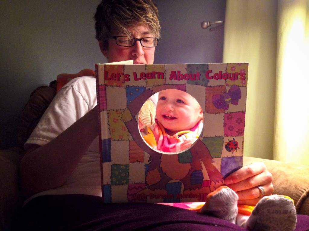 Mommy reading to Addison