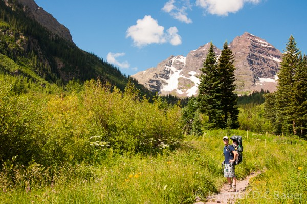 Hiking with Addie in Maroon Bells, Colorado.