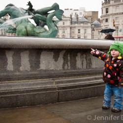 Addison at Trafalgar Square in London, England.