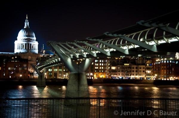 Millenium Bridge and St. Paul's Cathedral in London, England