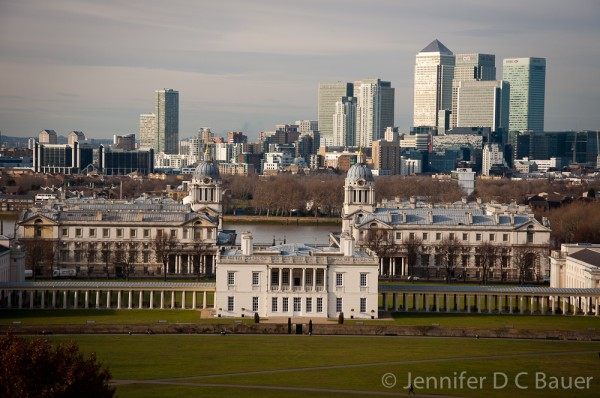 The view of The Royal Naval Academy in Greenwich, England.