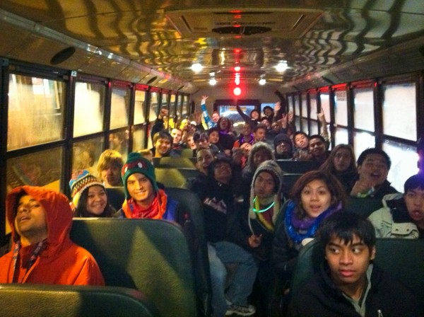 Happy kids on the bus ride home.