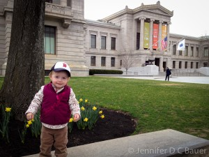 Addison outside of the MFA in Boston.