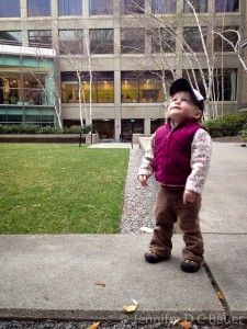 Addie in the Calderwood Courtyard at the Boston MFA.