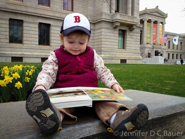 Addie reading her new book outside of the Boston MFA.