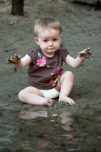 Addie playing in the mud at Yosemite National Park.