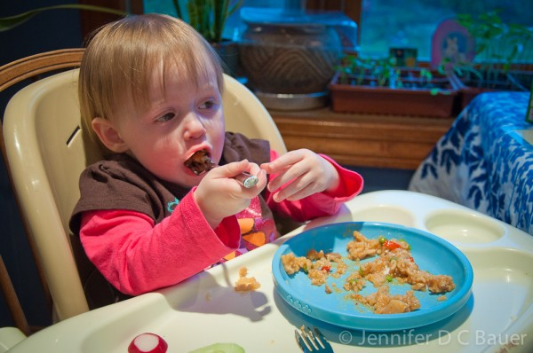 Addie eating her Mountain House meal.