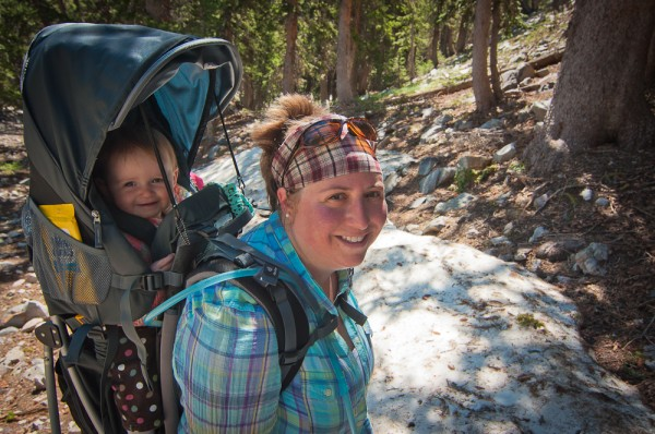 Kendra carrying Addie as we hiked in Great Basin National Park, Nevada.