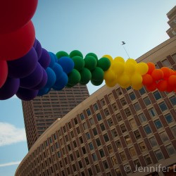 Rainbow balloons at Boston Pride 2012.