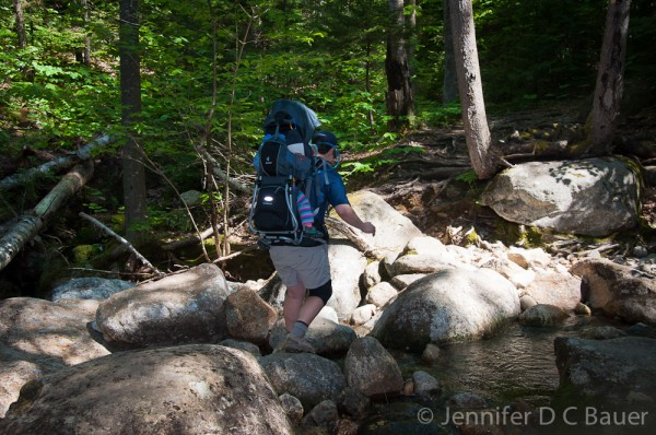 Navigating with Addison across the Imp Brook, which can be difficult when the water is high.