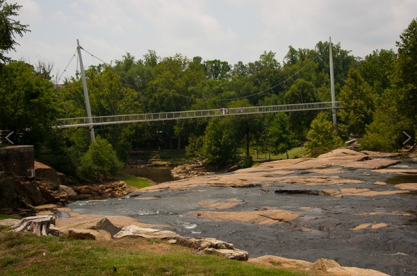 The Liberty Bridge spanning the Reedy River in Falls Park, Greenville, S.C.
