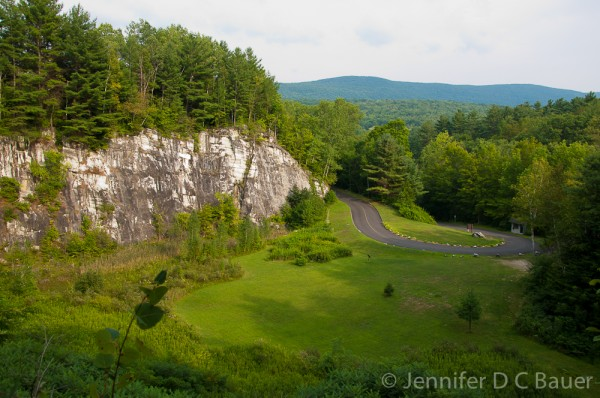 The marble cliffs set against the Berkshire mountains at Natural Bridge State Park in North Adams, MA.