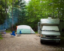 Camping at Dolly Copp Campground in the White Mountains of New Hampshire.