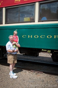 Addie and G-Dad and the Conway Scenic Railroad.