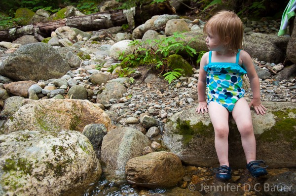 Addie swimming in Culhane Brook at Dolly Copp Campground.