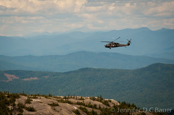 Military helicopter landing on Firescrew in NH.