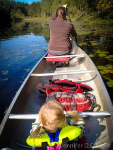 Mommy and Addie canoeing on the Ipswich River.
