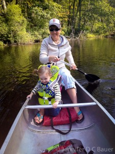 Addie and Mama canoeing on the Ipswich River!