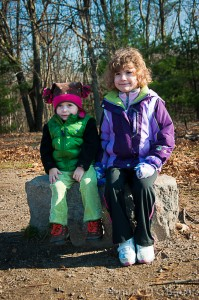 Addie and Eva pose for a quick photo on Weir Hill in North Andover, MA.