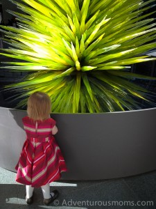 Addie checking out Chihuly's tree at the M.F.A. in Boston, MA.