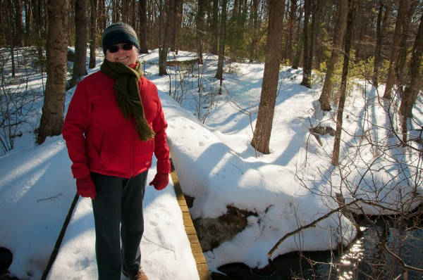 Jane on one of the wooden bridges at the Taft Reservation in Andover, MA
