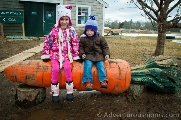 Addie and Elizabeth taking a break outside of the Dairy Store at Appleton Farms in Ipswich, MA