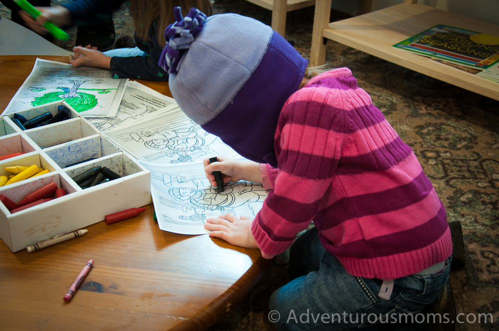 Addie coloring in the Visitor's Center at Appleton Farms in Ipswich, MA
