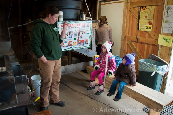 Addie and Elizabeth learning how maple syrup is made at Appleton Farms in Ipswich, MA