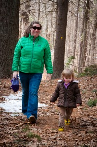 Kendra and Addie hiking at the Mildred Morse Allen Wildlife Sanctuary