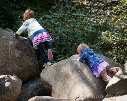 Addie and Elizabeth climbing rocks at the Ipswich River Wildlife Sanctuary