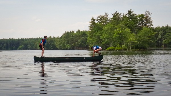 Balancing on our canoe in Harold Parker State Forest, Andover, MA