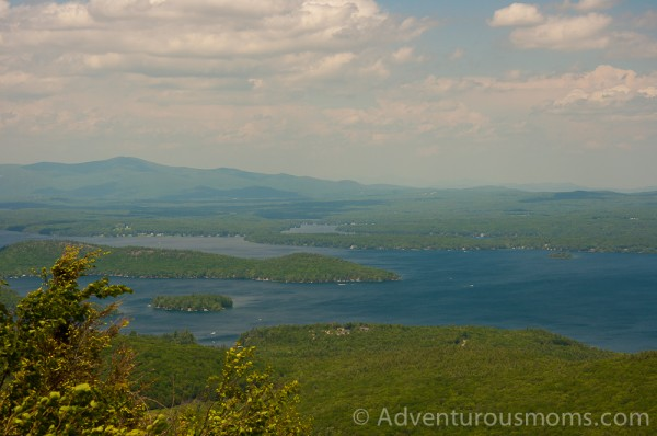 The view of Lake Winnipesaukee and the White Mountains from the summit of Mt. Major