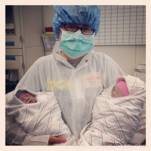 Me with the twins in the operating room.