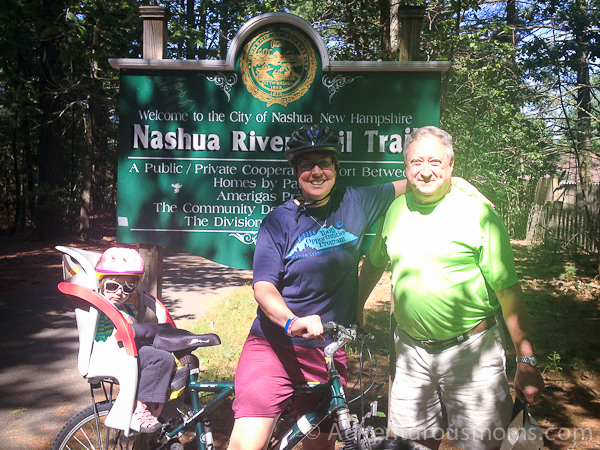 The Massachusetts-New Hampshire border on the Nashua Rail Trail