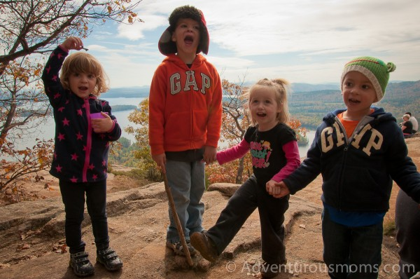 Ava, Cole, Addie and Ty celebrate making it to the top of West Rattlesnake Mountain in Holderness, NH