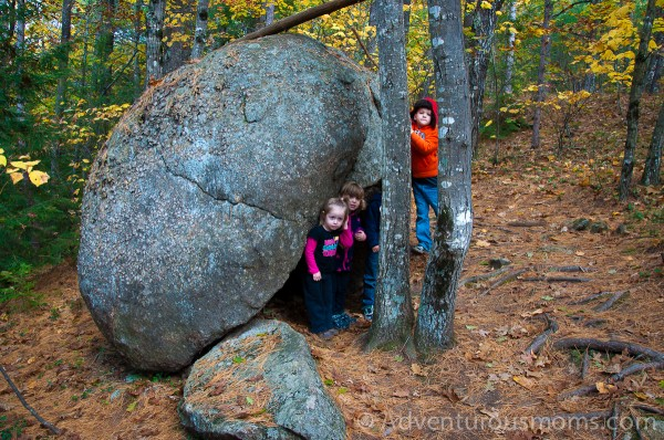 Ava, Cole, Addie and Ty exploring the trail on West Rattlesnake Mountain in Holderness, NH